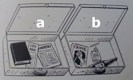a: wholesome suitcase | b: vice suitcase